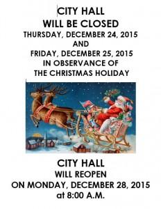 Christmas Closed - CITY HALL