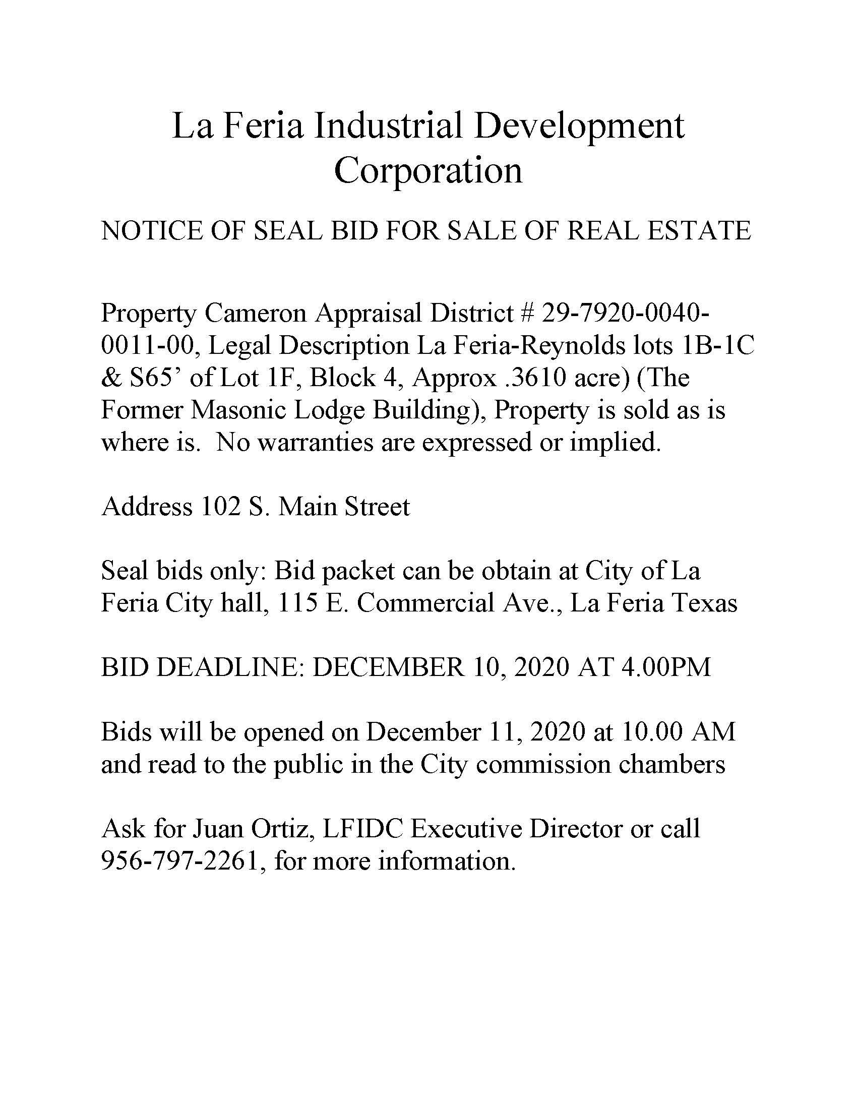 LFIDC Salee of land ad Nov 2020