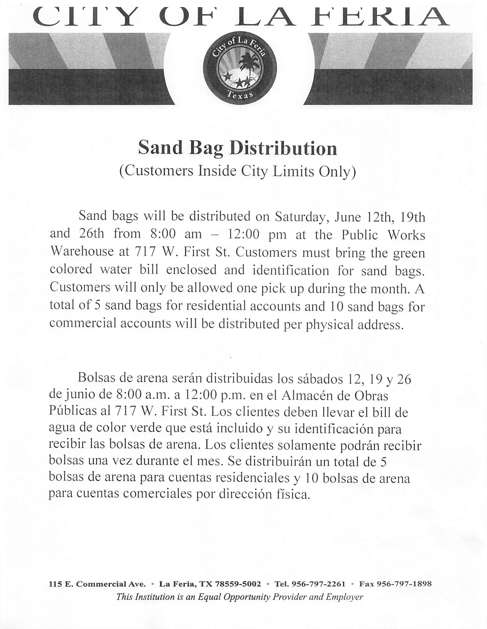 Sand Bag distribution